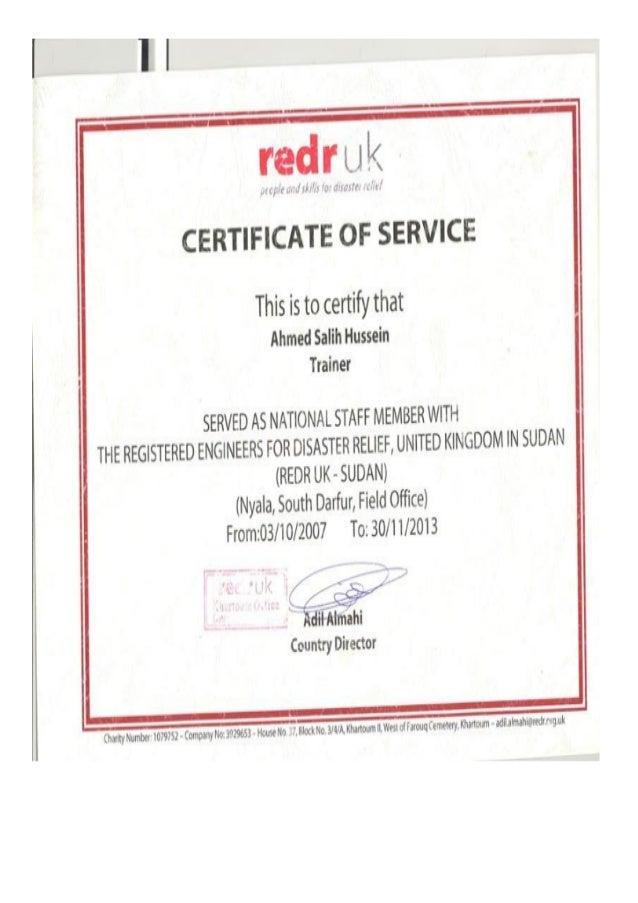 work certificate redr