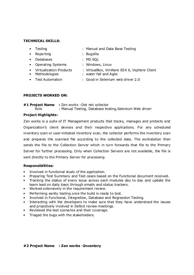 2+ Years of Experince in Testing resume