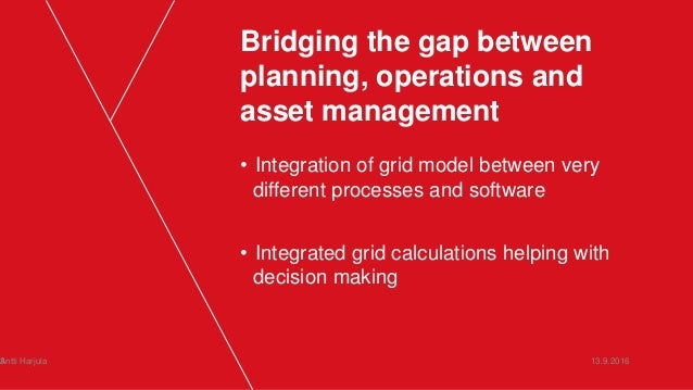 Bridging the gap between planning, operations and asset management • Integration of grid model between very different proc...