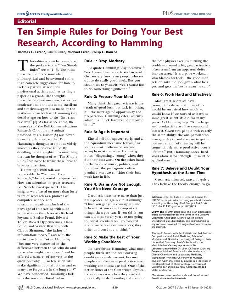 EditorialTen Simple Rules for Doing Your BestResearch, According to HammingThomas C. Erren*, Paul Cullen, Michael Erren, P...