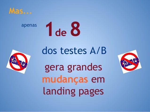 gera grandes mudanças em landing pages Mas... 1de 8apenas dos testes A/B