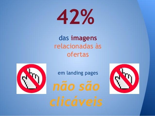 das imagens relacionadas às ofertas 42% em landing pages não são clicáveis