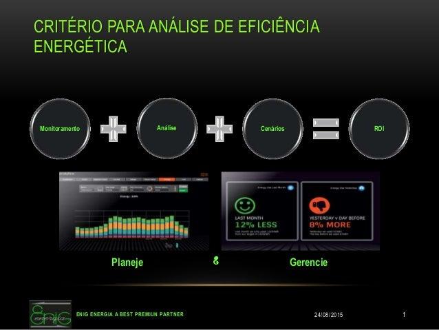 CRITÉRIO PARA ANÁLISE DE EFICIÊNCIA ENERGÉTICA Monitoramento Análise Cenários ROI Planeje GerencieE 24/08/2015ENIG ENERGIA...
