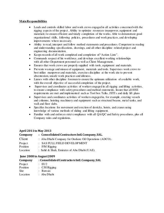 Cv Konain Alam Ansari Rigging Supervisor 2015 - Resume