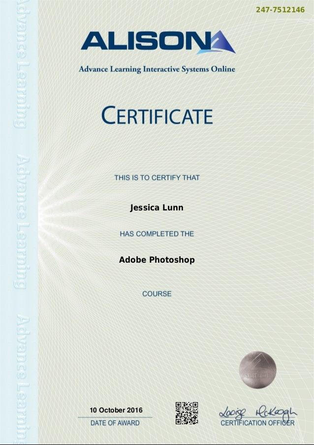 Alison - Adobe Photoshop Course 10.10.2016 on
