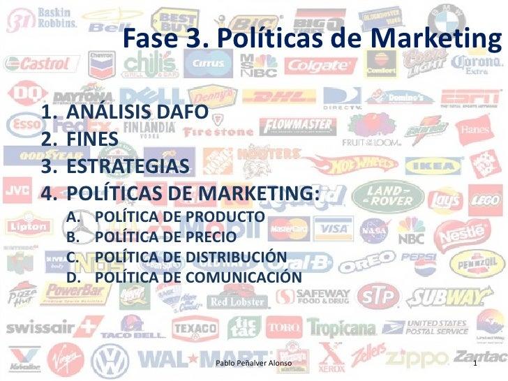 Fase 3. Políticas de Marketing  1.   ANÁLISIS DAFO 2.   FINES 3.   ESTRATEGIAS 4.   POLÍTICAS DE MARKETING:      A.   POLÍ...