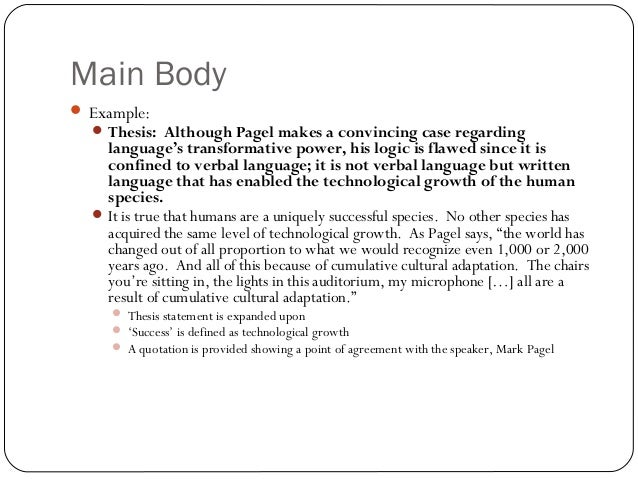 Doc.#638479: Main Body of an Essay – Essay on body image (+82 More ...