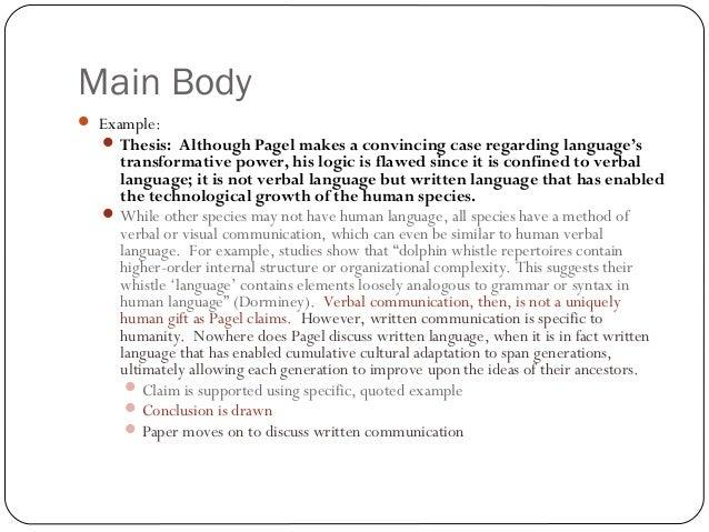 Main body of an essay example