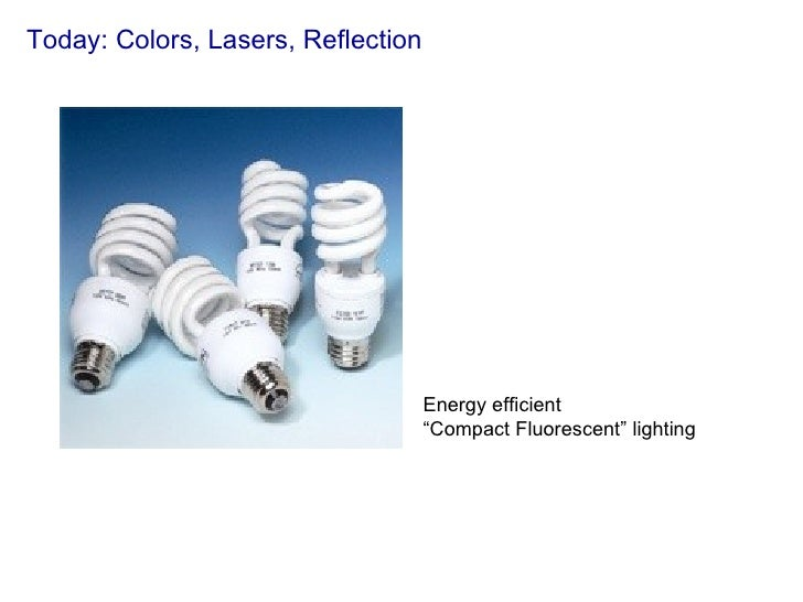 "Today: Colors, Lasers, Reflection Energy efficient  "" Compact Fluorescent"" lighting"