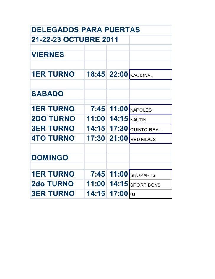 11 fecha delegados para puertas 21,22,23 octubre 2011