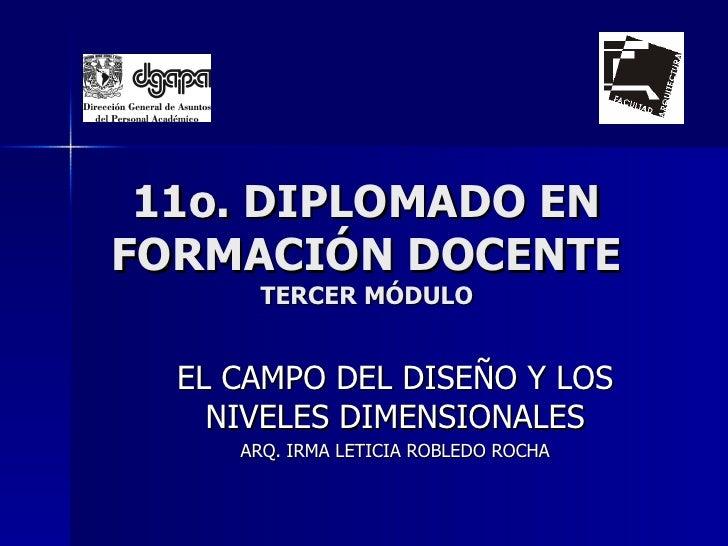 11o. DIPLOMADO EN FORMACIÓN DOCENTE TERCER MÓDULO EL CAMPO DEL DISEÑO Y LOS NIVELES DIMENSIONALES ARQ. IRMA LETICIA ROBLED...