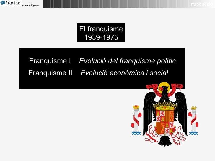 Introducció El franquisme 1939-1975 Franquisme I  Evolució del franquisme polític Franquisme II  Evolució econòmica i social