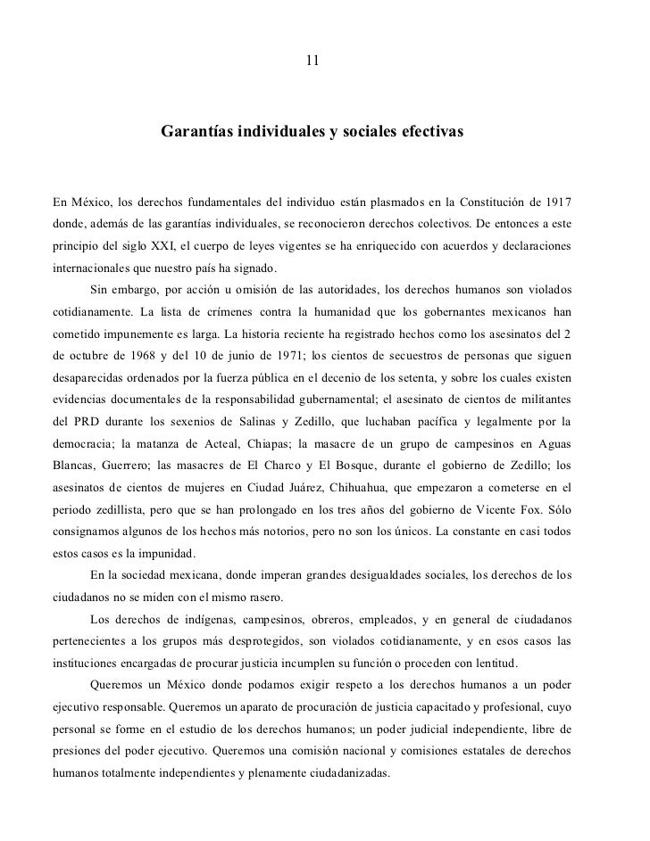 11                     Garantías individuales y sociales efectivasEn México, los derechos fundamentales del individuo está...