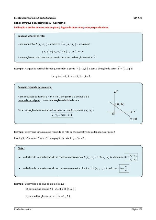ESAS – Geometria I Página 1/6 Escola Secundária de Alberto Sampaio 11º Ano Ficha Formativa de Matemática A – Geometria I I...