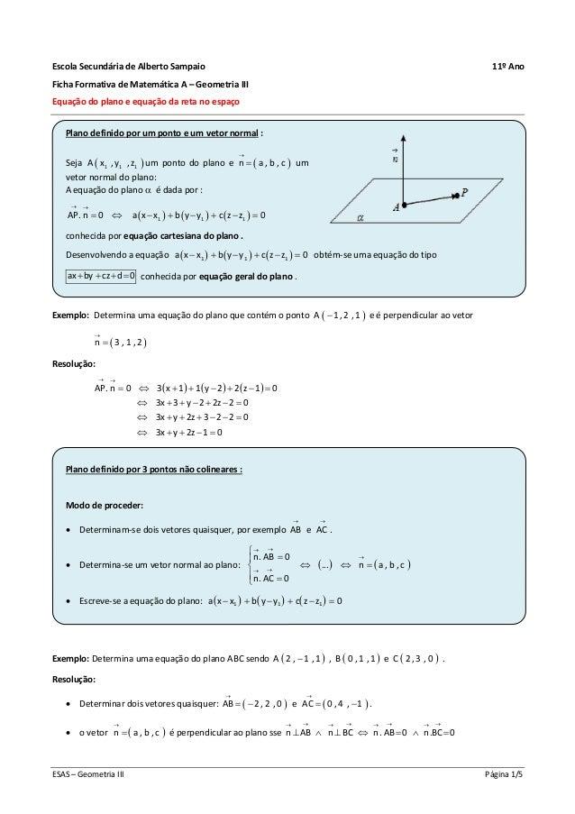 ESAS – Geometria III Página 1/5 Escola Secundária de Alberto Sampaio 11º Ano Ficha Formativa de Matemática A – Geometria I...