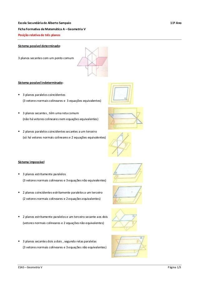 ESAS – Geometria V Página 1/3 Escola Secundária de Alberto Sampaio 11º Ano Ficha Formativa de Matemática A – Geometria V P...