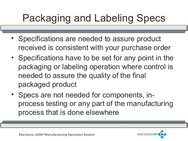 Instantgmp Cmpliance Series Packaging And Labeling