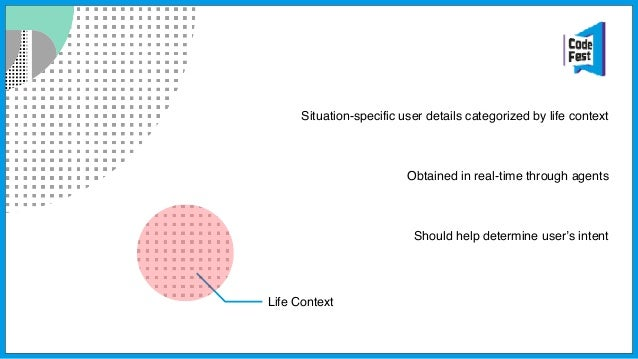 User Intent Specifies user's situational goal Defined set of intents is required Goal is to anticipate and suggest the rig...