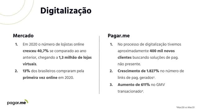 Digitalização 1. Em 2020 o número de lojistas online cresceu 40,7% se comparado ao ano anterior, chegando a 1,3 milhão de ...