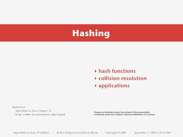 Hashing                                                                    ‣ hash functions                               ...