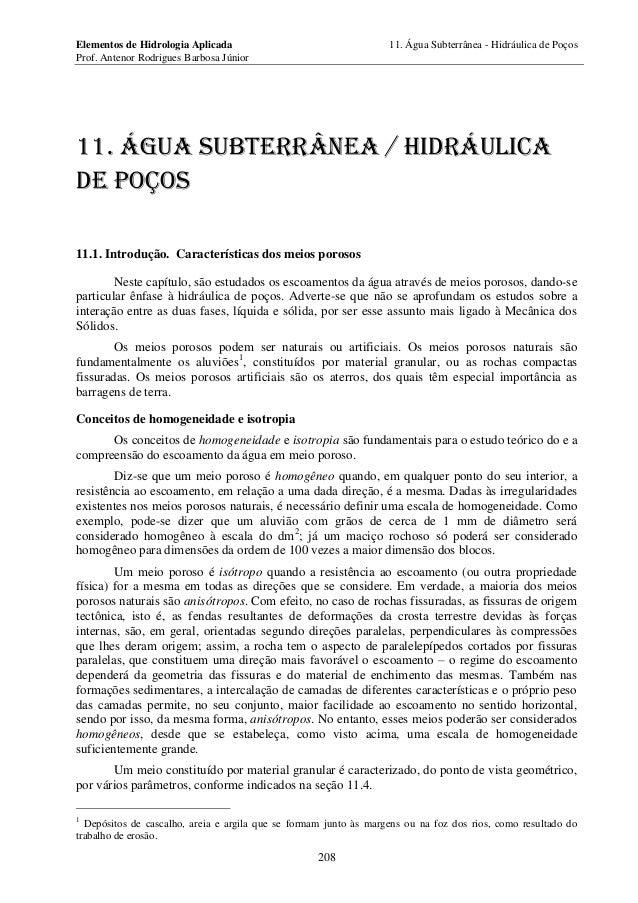 Elementos de Hidrologia Aplicada 11. Água Subterrânea - Hidráulica de Poços Prof. Antenor Rodrigues Barbosa Júnior 208 11....