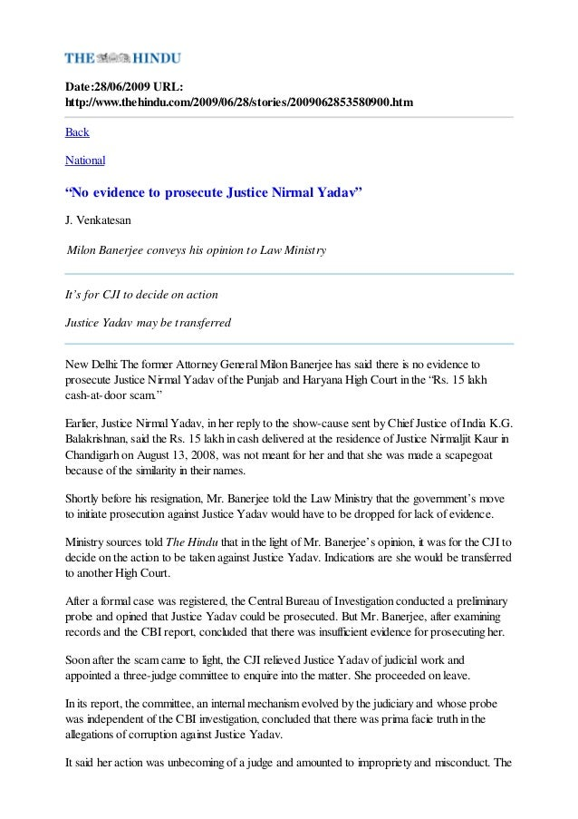"""Date:28/06/2009 URL:http://www.thehindu.com/2009/06/28/stories/2009062853580900.htmBackNational""""No evidence to prosecute J..."""