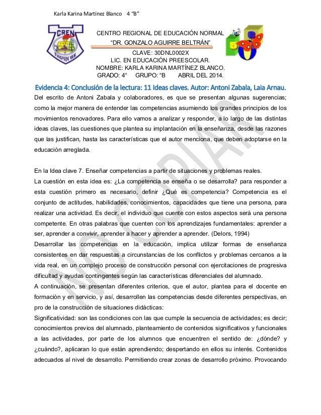 """Karla Karina Martínez Blanco 4 """"B"""" CENTRO REGIONAL DE EDUCACIÓN NORMAL """"DR. GONZALO AGUIRRE BELTRÁN"""" CLAVE: 30DNL0002X LIC..."""