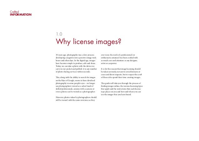 CraftedINFORMATION              1.0              Why license images?              30 years ago, photography was a slow pro...