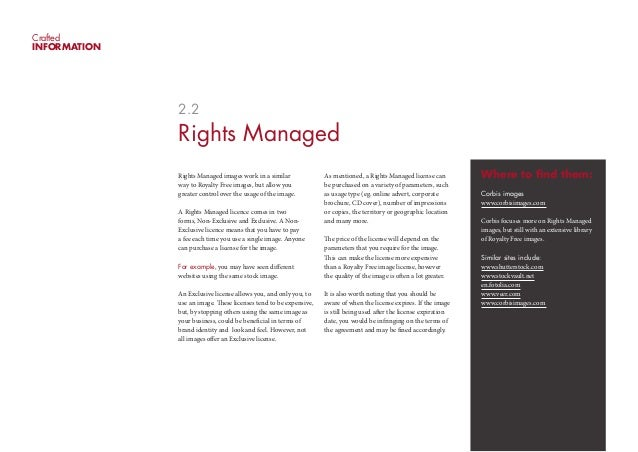 CraftedINFORMATION              2.2              Rights Managed              Rights Managed images work in a similar      ...