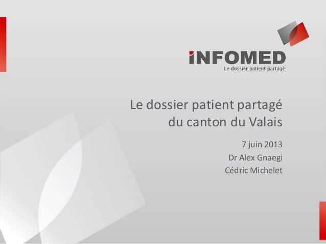 Le dossier patient partagédu canton du Valais7 juin 2013Dr Alex GnaegiCédric Michelet