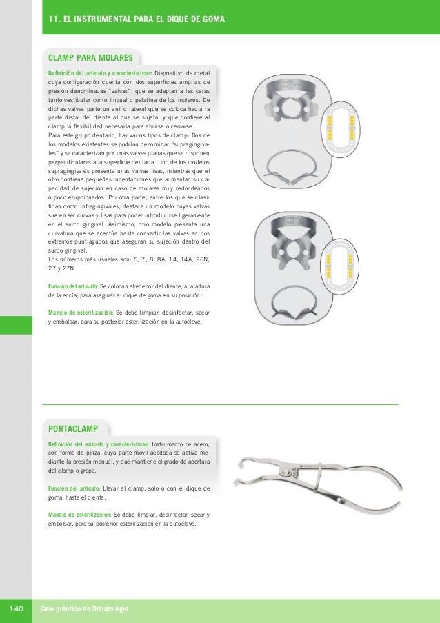 Guía práctica de Odontología140 11. EL INSTRUMENTAL PARA EL DIQUE DE GOMA CLAMP PARA MOLARES Definición del artículo y car...