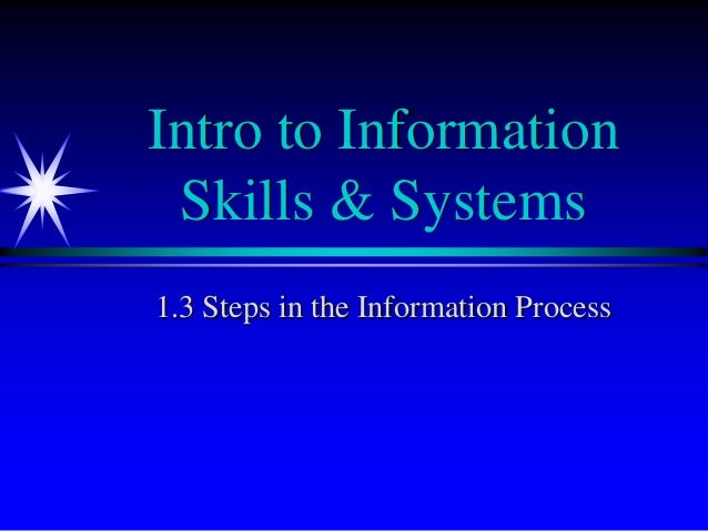 Intro to Information Skills & Systems1.3 Steps in the Information Process