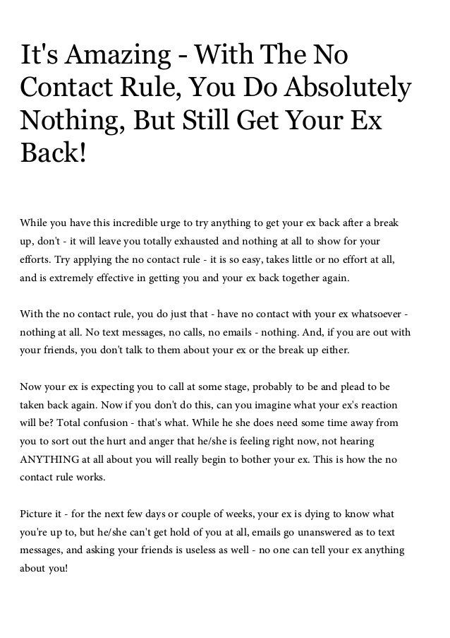 no contact rule to get ex back