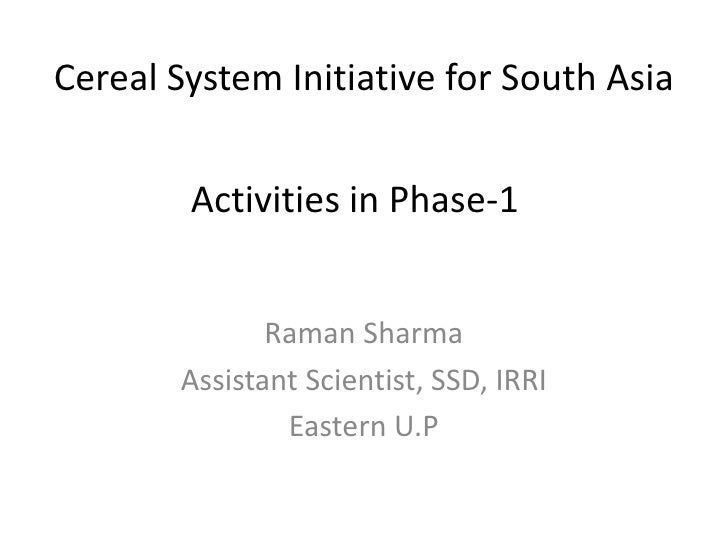 Cereal System Initiative for South Asia        Activities in Phase-1              Raman Sharma       Assistant Scientist, ...