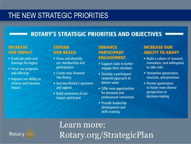 THE NEW STRATEGIC PRIORITIES Learn more: Rotary.org/StrategicPlan
