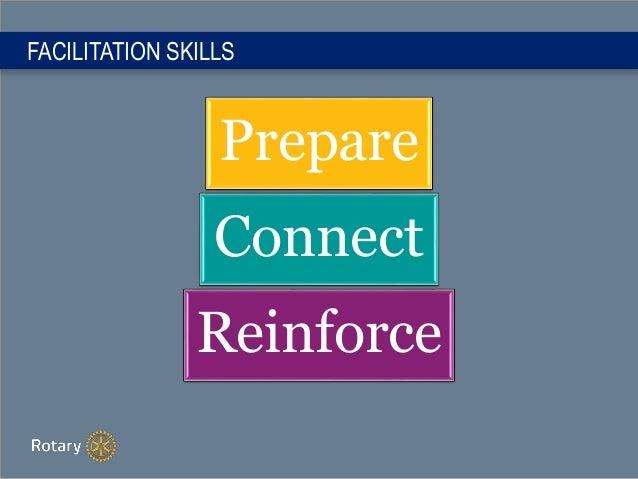 FACILITATION SKILLS Prepare Connect Reinforce