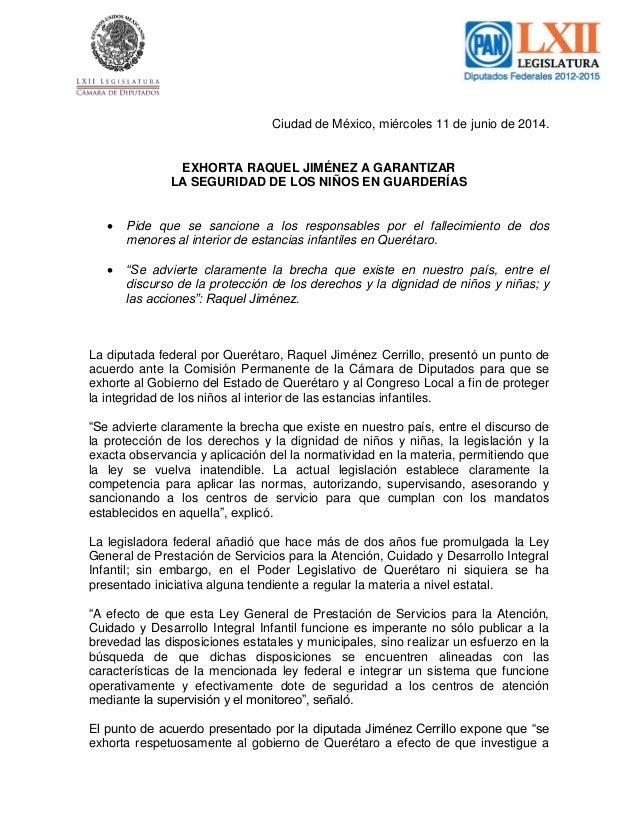 Ciudad de México, miércoles 11 de junio de 2014. EXHORTA RAQUEL JIMÉNEZ A GARANTIZAR LA SEGURIDAD DE LOS NIÑOS EN GUARDERÍ...