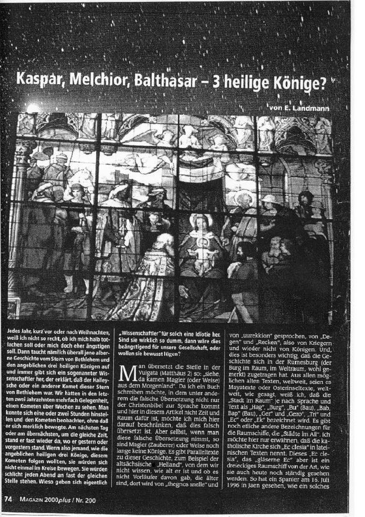 Kaspar, Melchior, Balthasar - 3 heilige Könige?