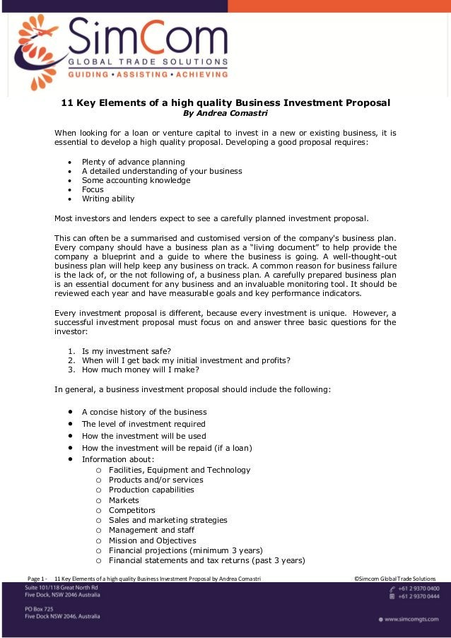 11 Key Elements of a high quality Business Investment Proposal                                                            ...