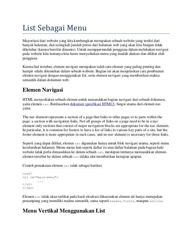 List Sebagai Menu Mayoritasi dari website yang kita kembangkan merupakan sebuah website yang terdiri dari banyak halaman, ...
