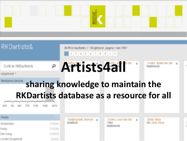 Artists4all sharing knowledge to maintain the RKDartists database as a resource for all