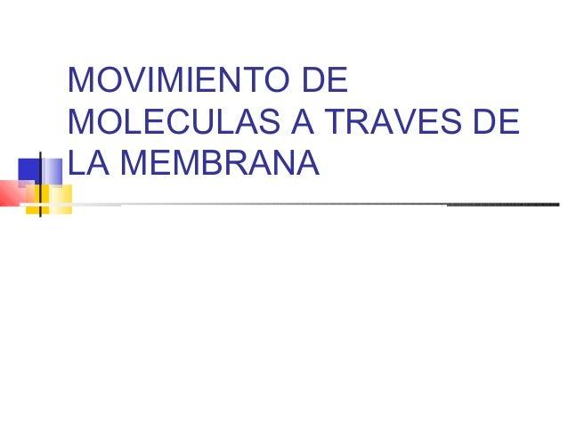 MOVIMIENTO DE MOLECULAS A TRAVES DE LA MEMBRANA