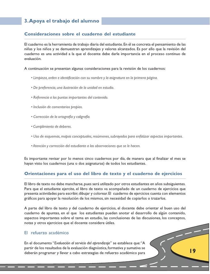 3. Apoya el trabajo del alumno  Consideraciones sobre el cuaderno del estudiante  El cuaderno es la herramienta de trabajo...