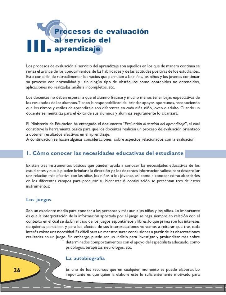 Procesos de evaluación       III.                       al servicio del                       aprendizaje       Los proces...