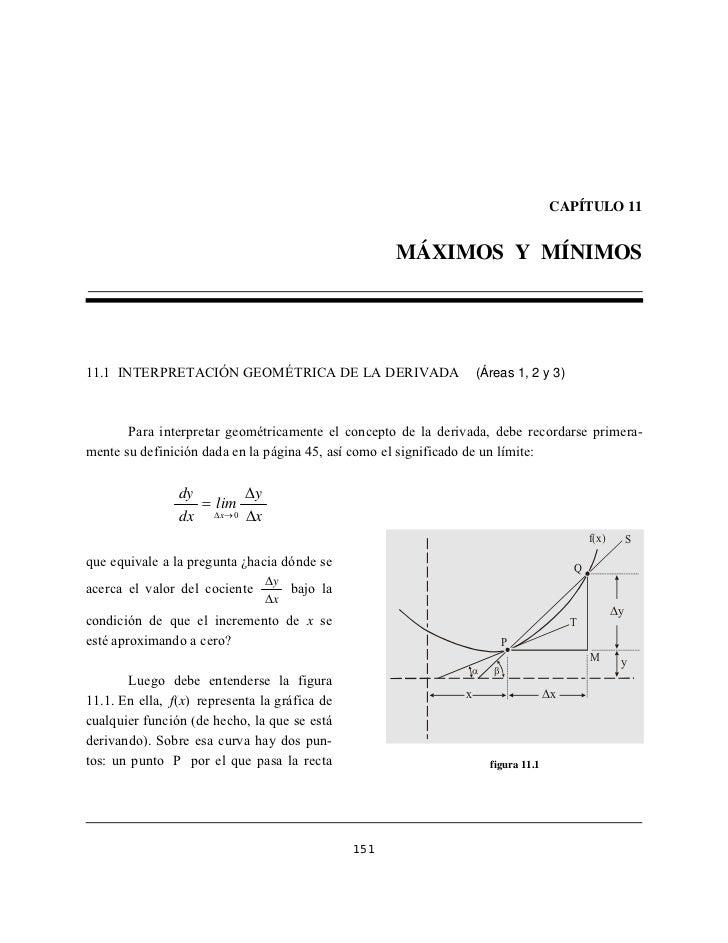 CAPÍTULO 11                                                     MÁXIMOS Y MÍNIMOS11.1 INTERPRETACIÓN GEOMÉTRICA DE LA DERI...