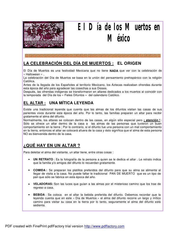 El Día de los Muertos en                                                              México           LA CELEBRACIÓN DEL ...