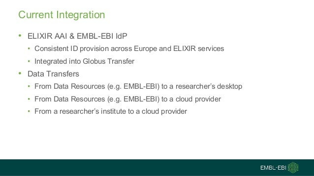 Current Integration • ELIXIR AAI & EMBL-EBI IdP • Consistent ID provision across Europe and ELIXIR services • Integrated i...