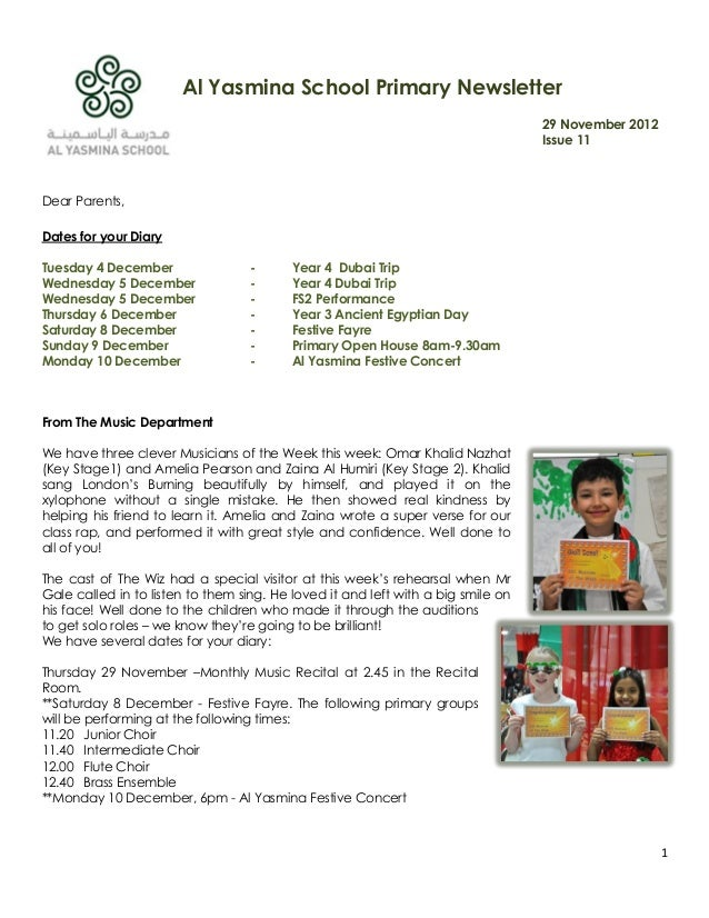 Al Yasmina School Primary Newsletter                                                                                  29 N...