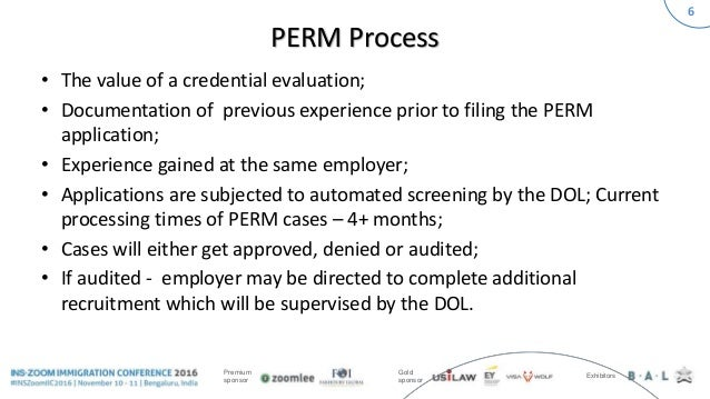INSZoom Immigration Conference 2016 - PERM Process Recent Trends