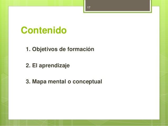 Contenido  17  1. Objetivos de formación  2. El aprendizaje  3. Mapa mental o conceptual